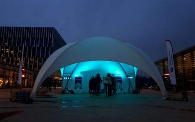 Dome tent op Silent Disco Erasmus Universiteit Rotterdam